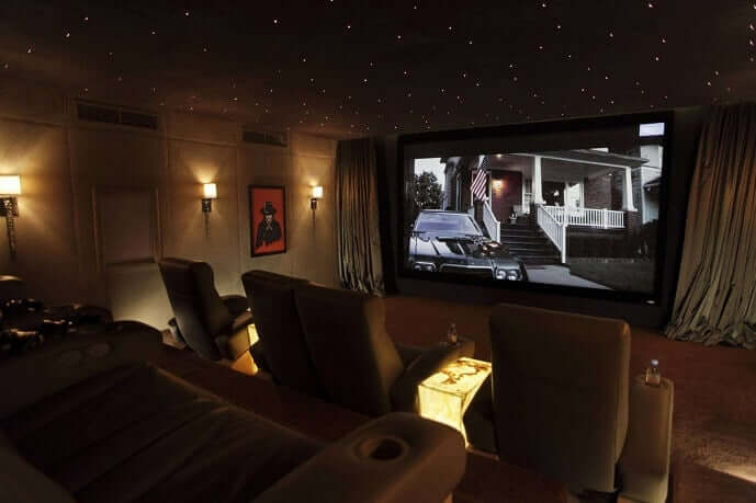 Example of a well lit Home Cinema - with Onyx Tables and Star effect Ceiling