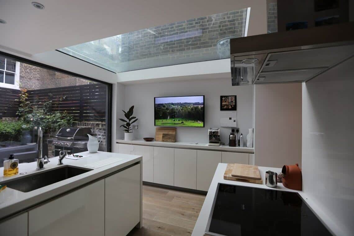 Kitchen TV fed from Crestron system