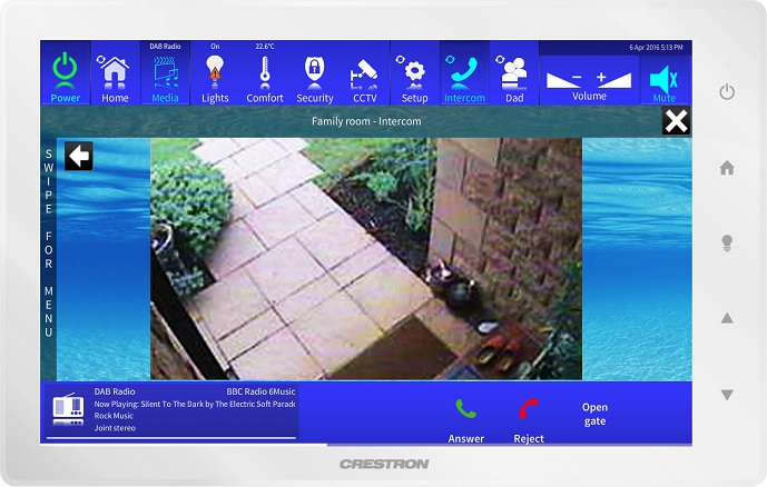 Crestron Touchpanel Showing Intercom