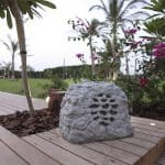 Rock Speaker installed in garden