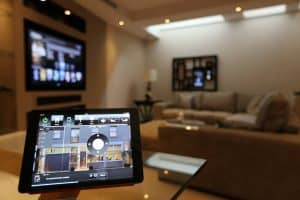 Crestron iPad Controlling Living Room