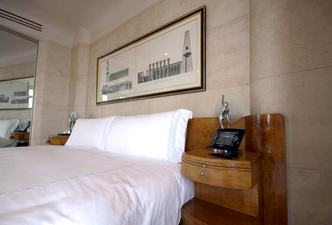 Crestron Install W1 Claridges Bedroom touchpanel - Crestron Dealers & Installers | London's Premier Crestron Dealers