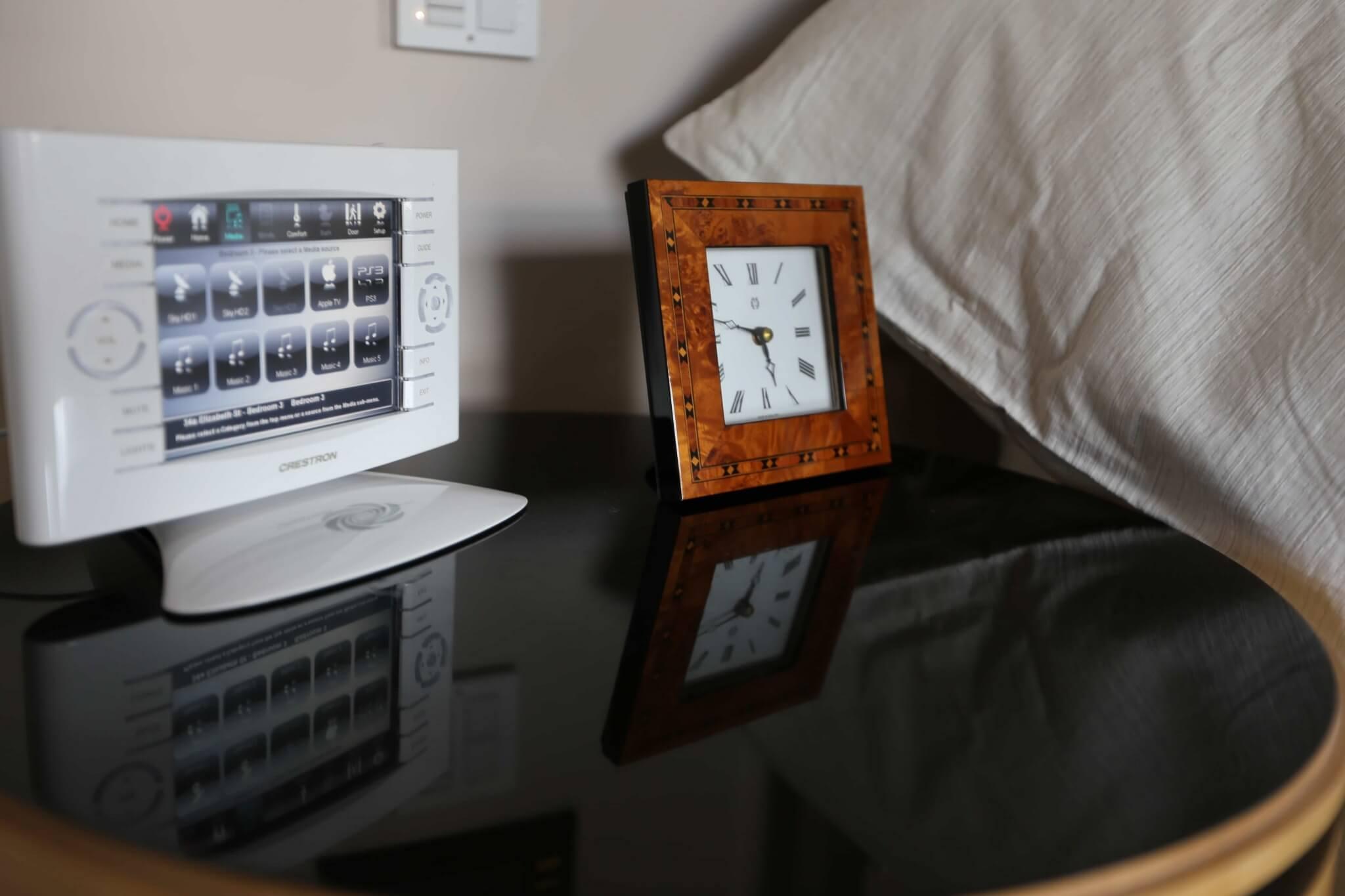 Crestron touchpanel in Belgravia Bedroom