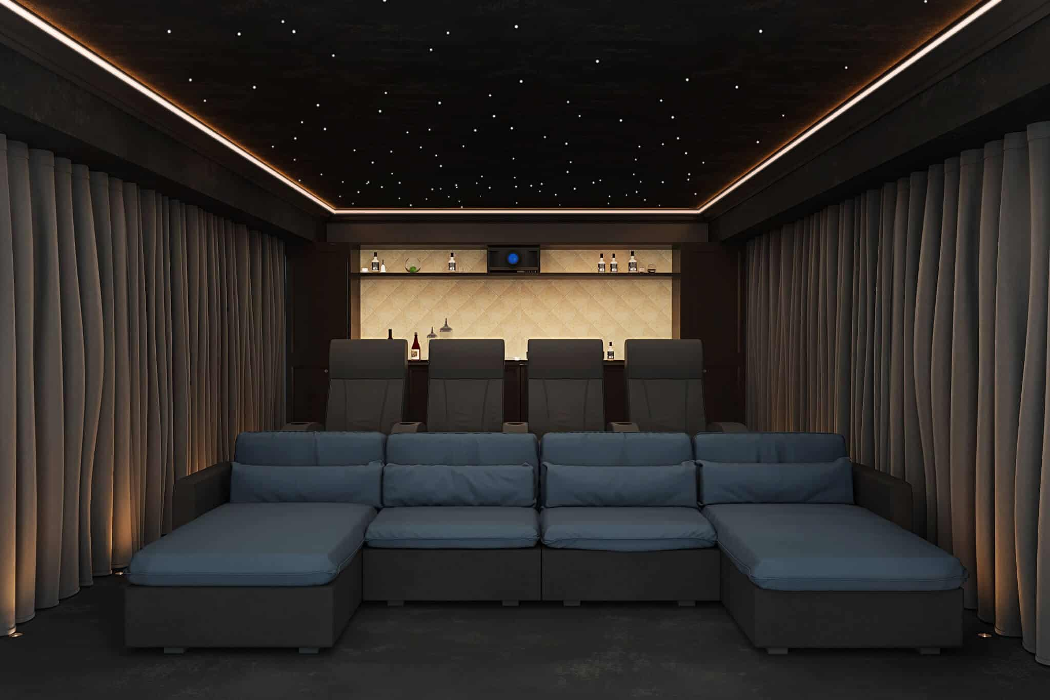 Home Cinema Seating - Day Bed arrangement on the Front Row with traditional seating behind