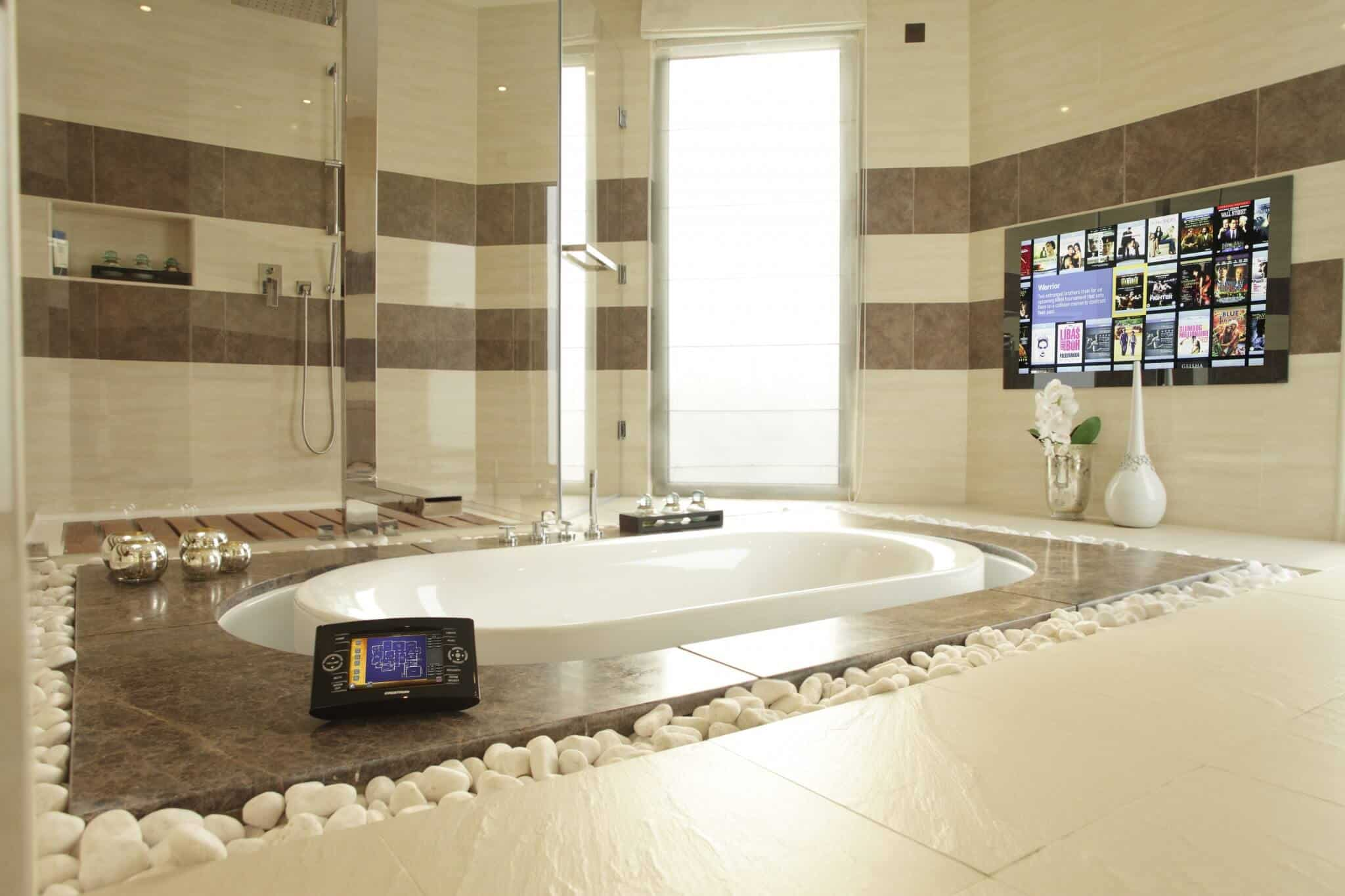 Agath Miror TV in bathroom showing Kaleidescape Movie Server