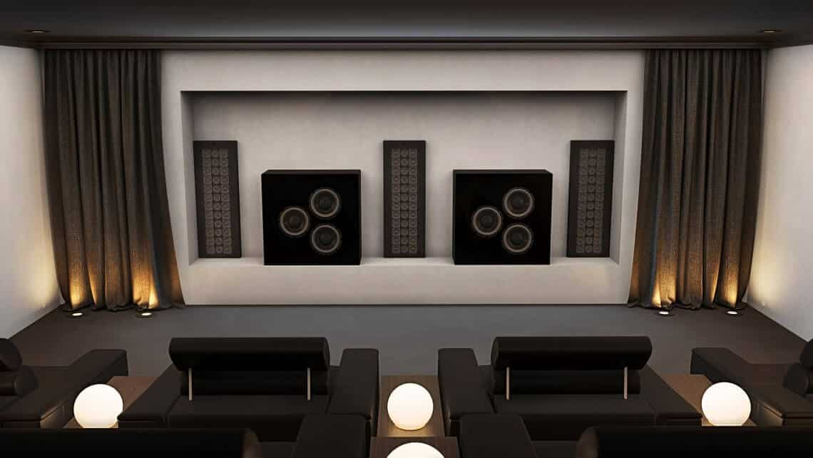 Home Cinema Speakers Installed In Void Behind Screen