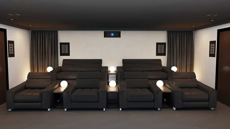 Home Cinema Room Rear Speakers 800x450 - Building a Cinema Room :- Cinema Room Dimensions.