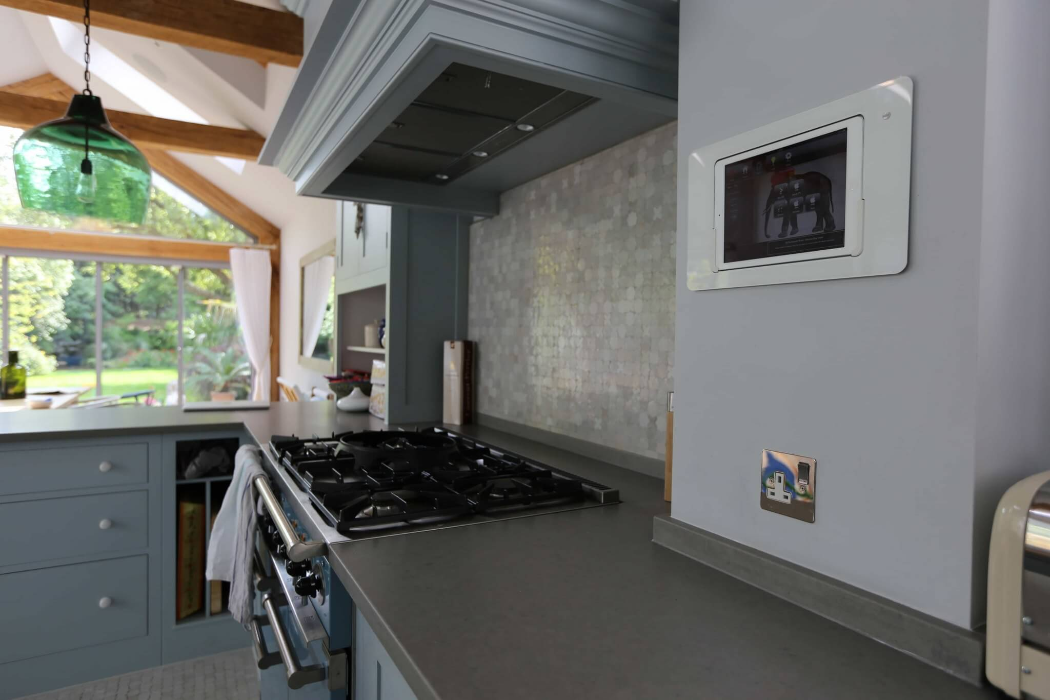 iPad in-wall control in Kitchen