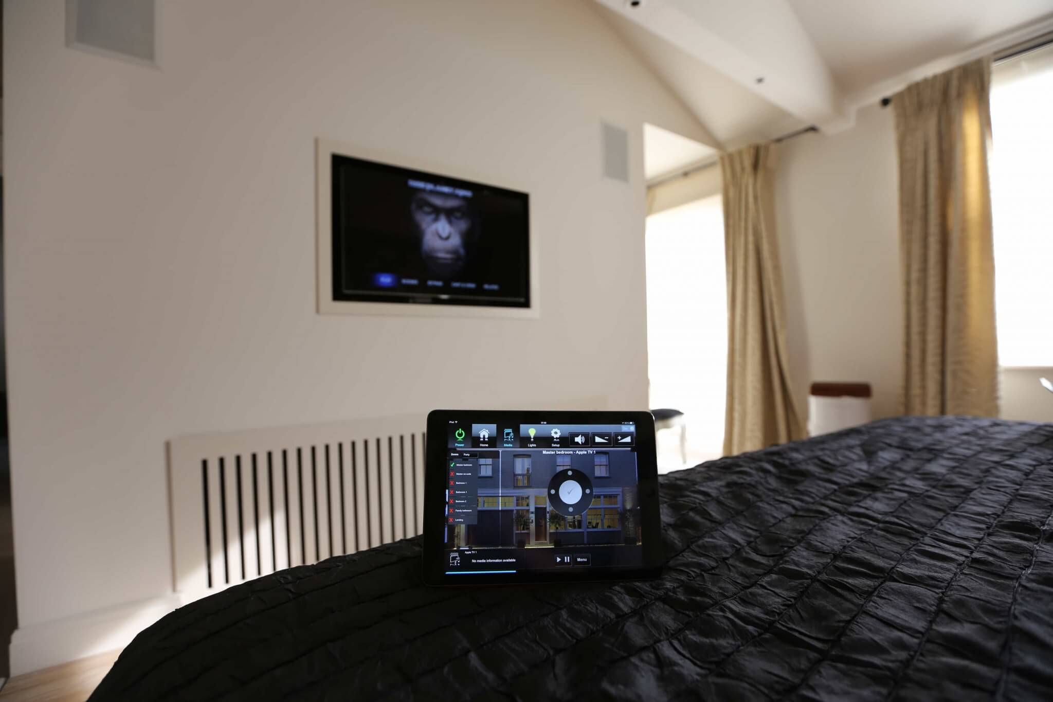 Bedroom AV Controlled by Crestron iPad