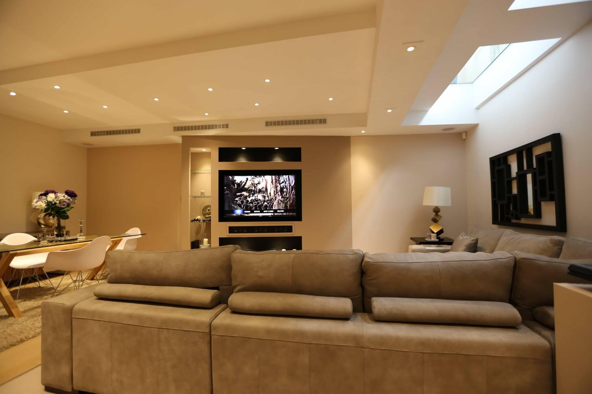 Living Room Home Cinema in Kensington, London