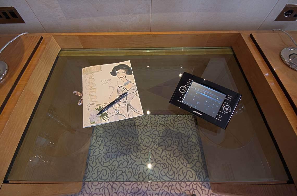 Crestron Touchpanel on Desk, Claridge's Hotel