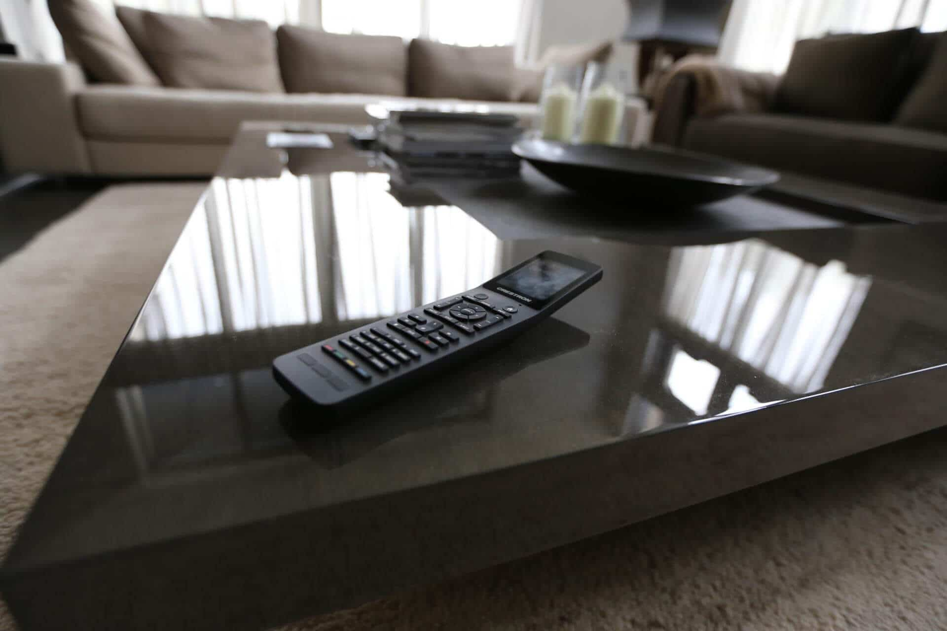 Crestron Remote Control in Living Room