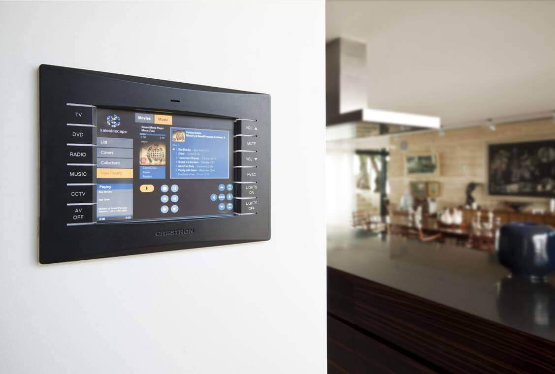 Crestron Touchpanel installed in Kitchen wall