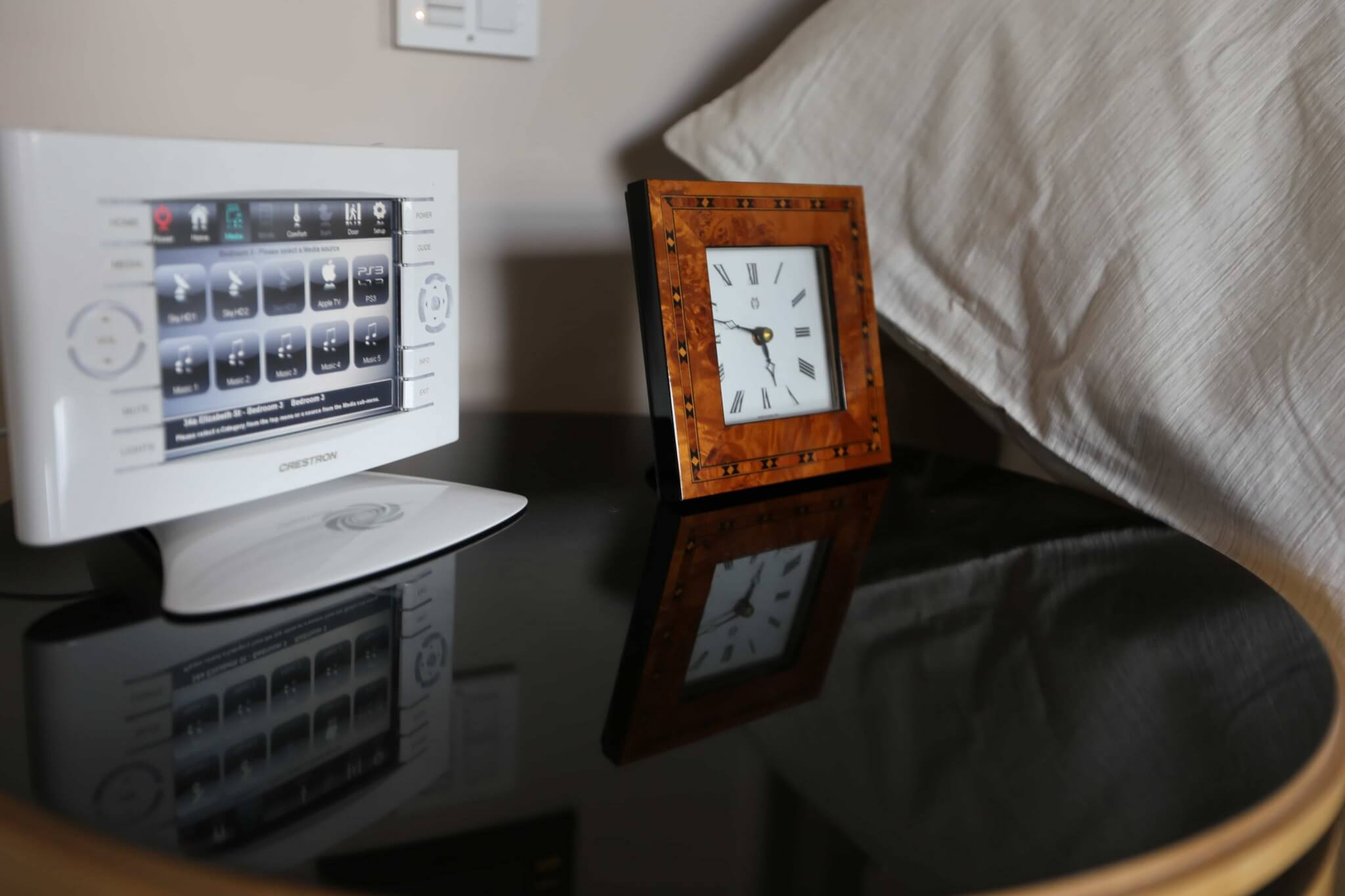 Crestron Touchpanel on Bedside Table