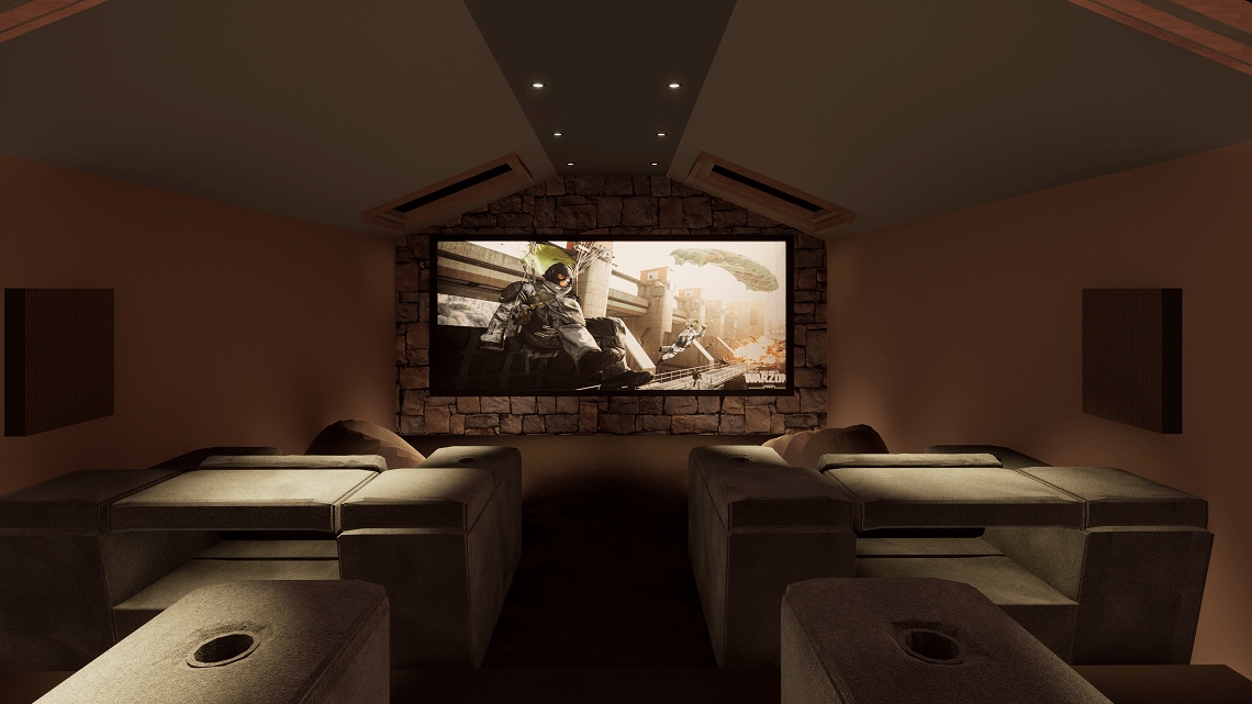 Lake District Cinema Room showing Call of Duty
