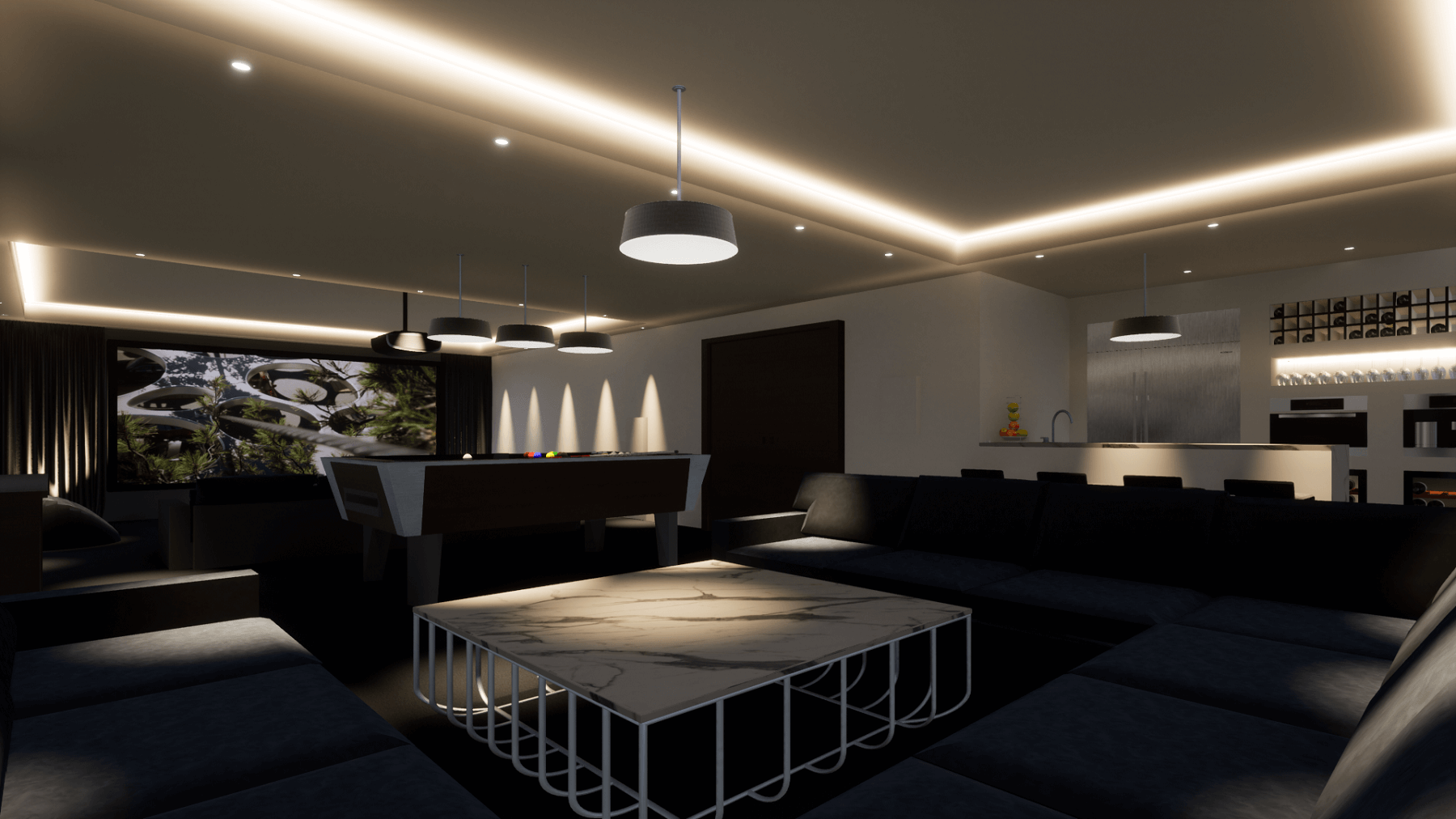 Lighting Zones in a Home Entertainment Space