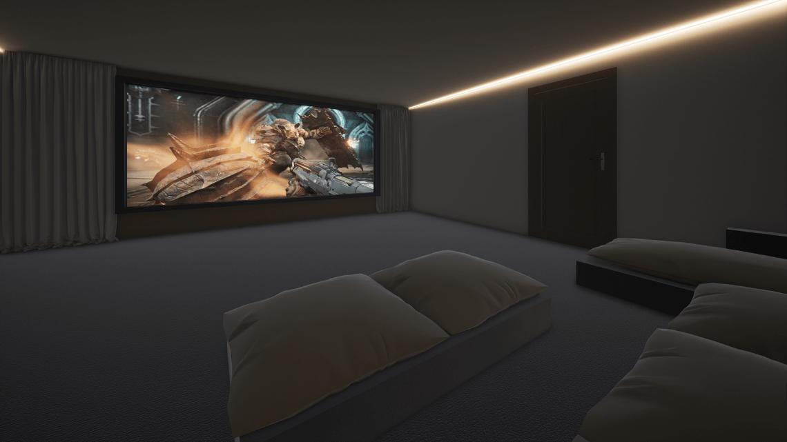 Double Garage Home Cinema Showing Doom Eternal