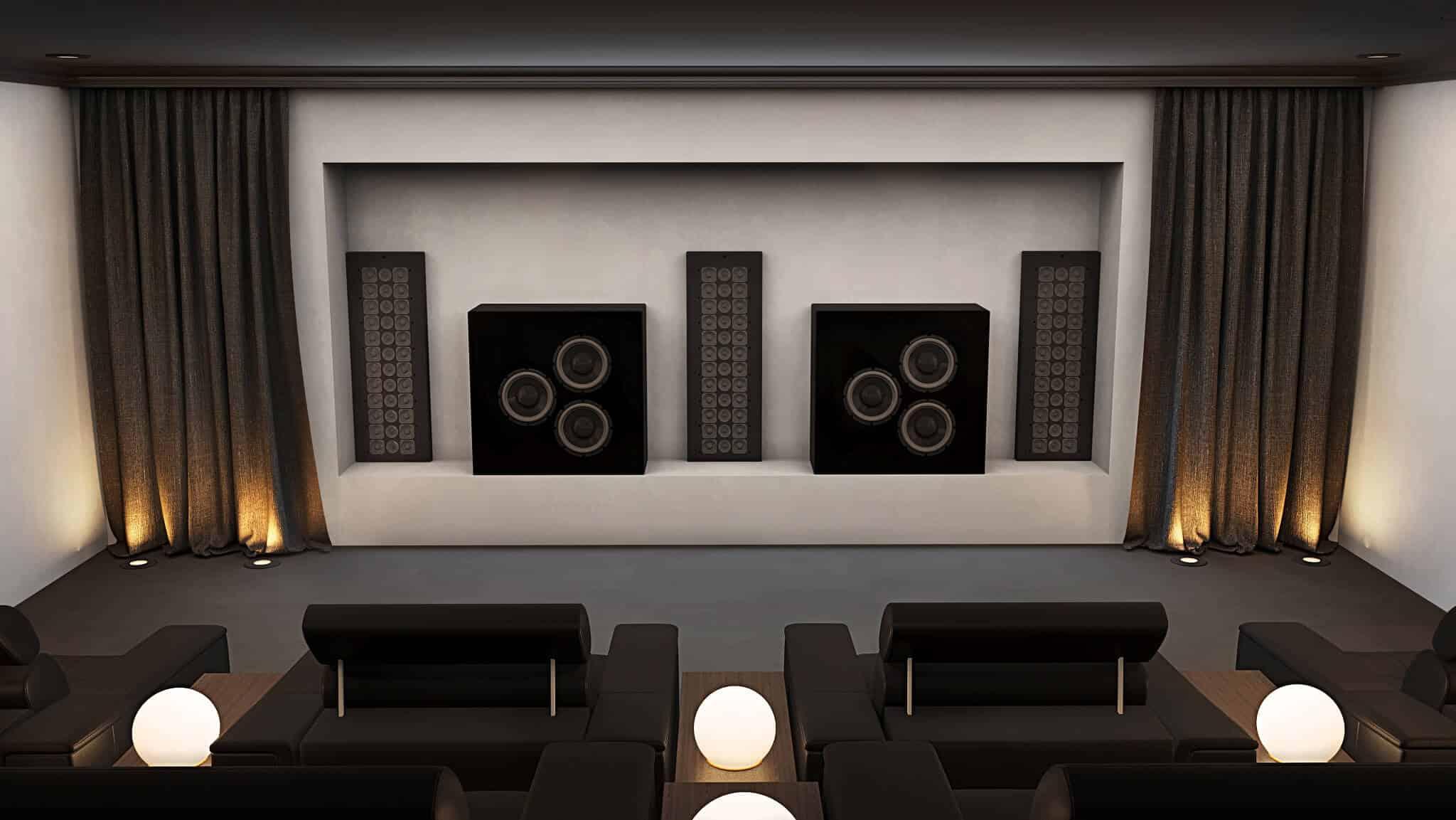 Surrey Home Cinema Room Showing Front Speakers