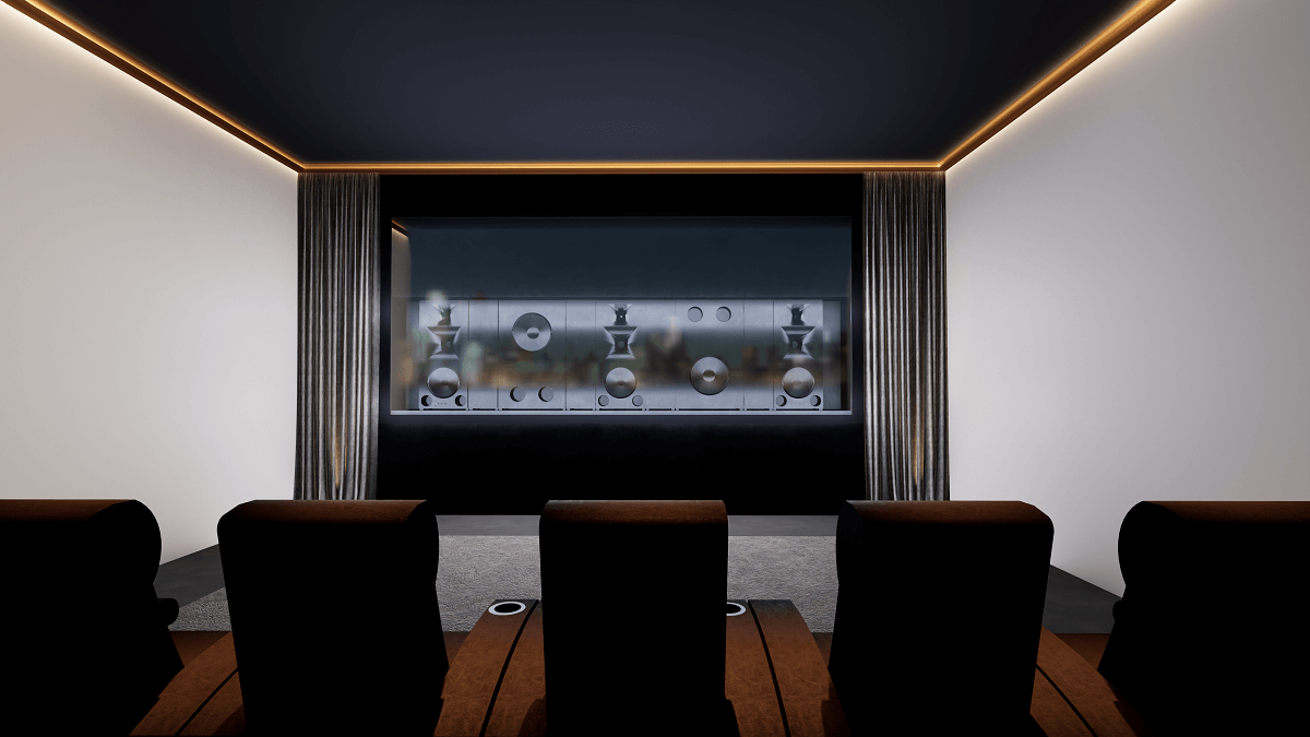 Krix Speakers on Show Behind Projector Screen