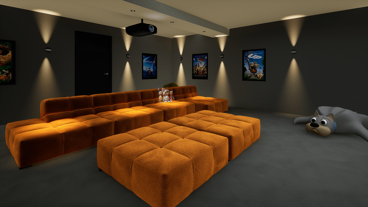 Family Home Cinema installed in a Basement