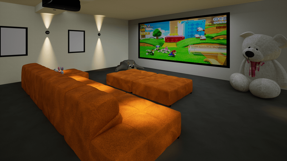 Family Gaming Room playing Super Mario