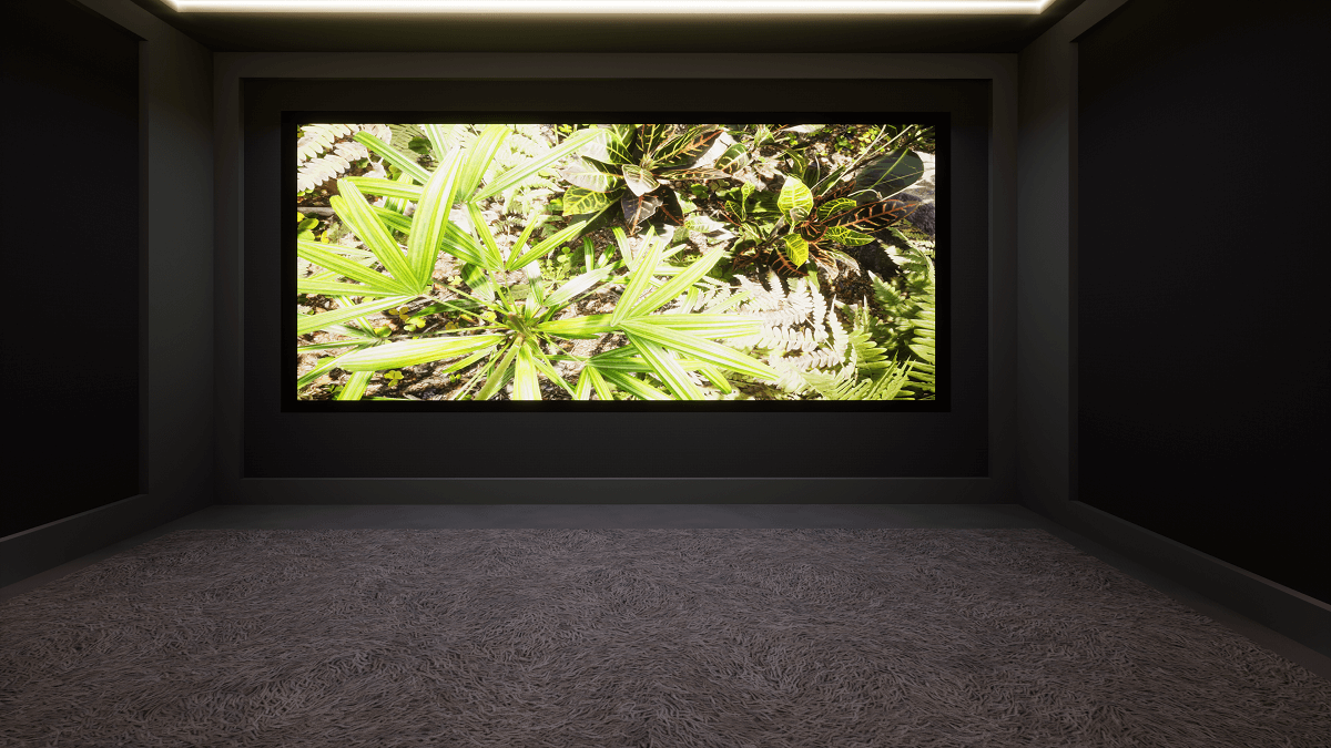 150 inch projector screen with speakers behind