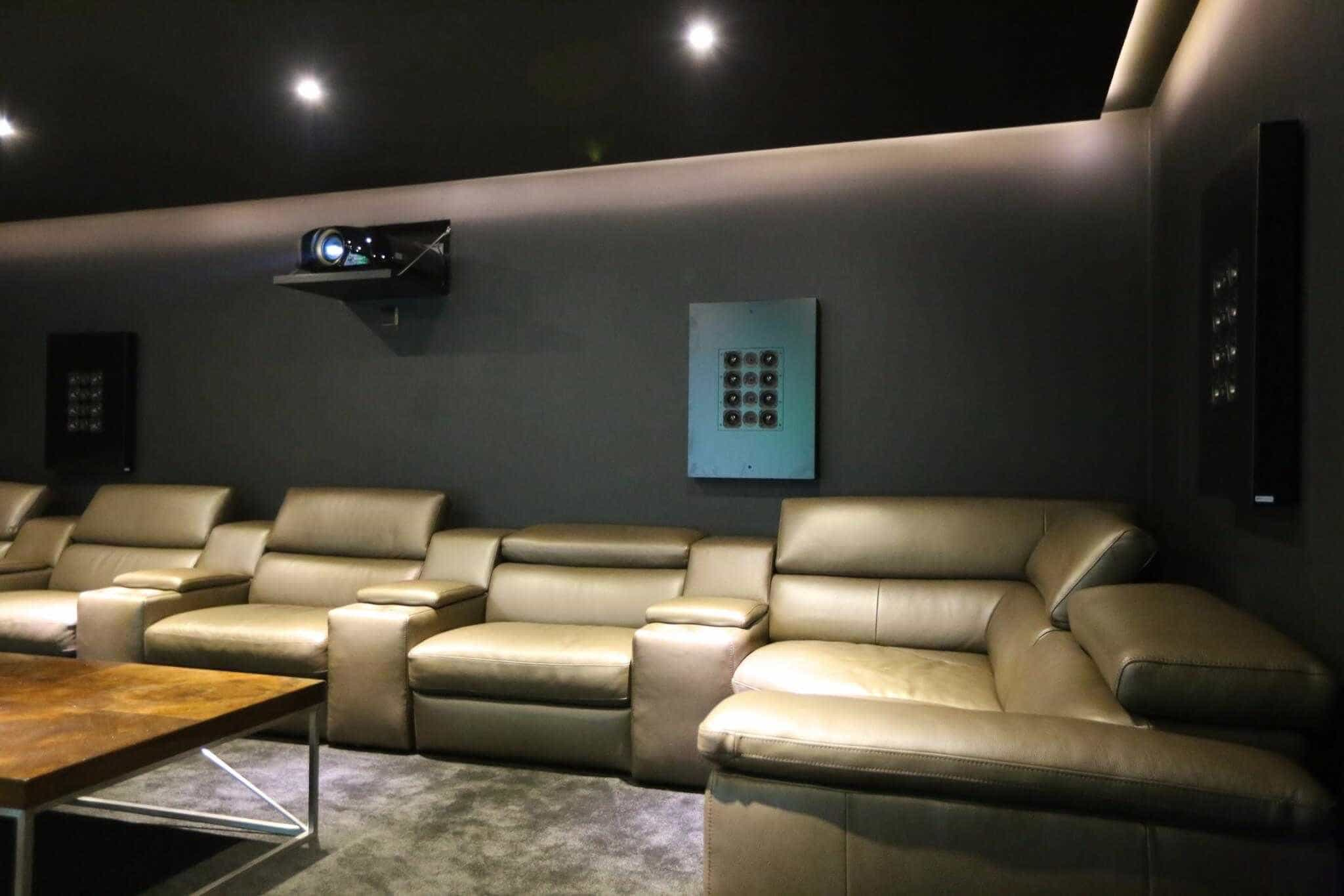 Home Cinema Room showing Artcoustic Speakers with grilles
